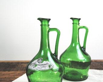 Vintage Wine Decanter, Green Glass Bottle, Vintage Bottle