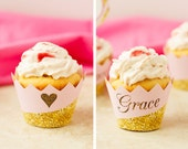 Pink and Gold Cupcake Wrapper - Gold Cupcake Wrapper - Pink and Gold Cupcake Liner - Personalized Cupcake Wrappers