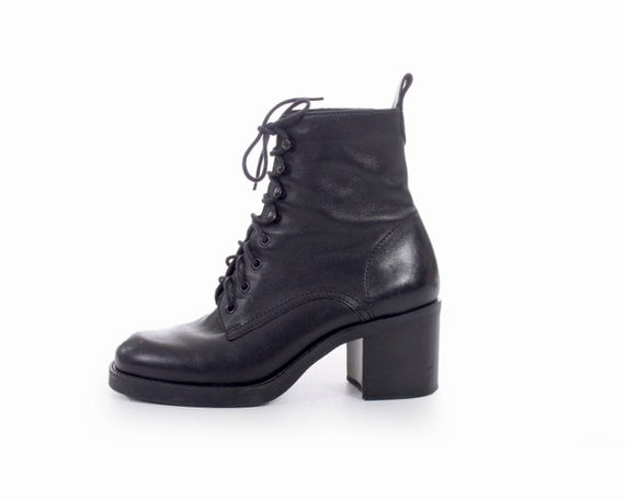 90s Vintage Black Leather Lace Up Ankle Boots Chunky Platform