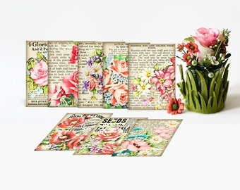 Vintage newspaper collage cards / printable cards, ATC ACEO  / digital collage sheet / floral collage / instant download