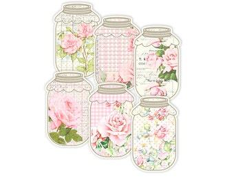 Shabby roses mason jar tags / printable vintage tags / shabby chic digital collage sheet / digital jar labels, food labels, canning label