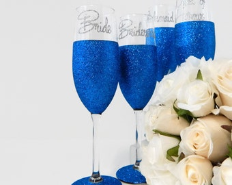 4 Bright Blue Wedding Glasses Gifts and Mementos Personalized Bridesmaid Gifts For Bridesmaid Gift For Bridal Party Blue Glitter Glass Rio