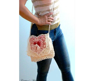 Heart crochet lace handbag -pearls crochet bag- Crossbody crochet bag- Teenager heart crochet purse- White pink crochet clutch