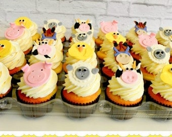 Cute Farm Animal Cupcake Toppers