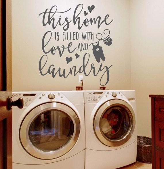 laundry room decor wall art cute Clothes line with bird |Laundromat Wall Art