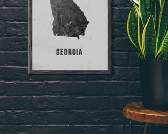 US State Map Poster Nevada Map Print Black And White Modern - Modern map of georgia us