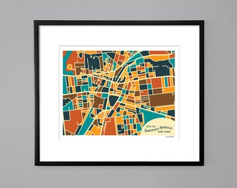 Saratoga Springs, NY Abstract Illustration Map Print