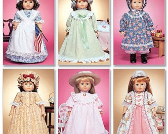 "M3627 McCall's Pioneer Doll Clothes Pattern for American Girl or other 18"" Dolls, New, Uncut and Factory Folded"