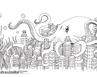 Giant squid attack etsy for Giant squid coloring page