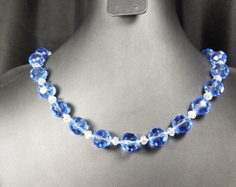 14mm Blue and 6mm Clear Crystal Bead Necklace