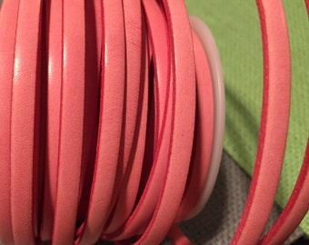 "16""  5mm flat Italian Dolce Vivid Rose Quartz  5mm Flat Leather Cord finding, jewelry supplies strap"