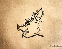 Boar Head Rubber Stamp - 2 x 2 inches