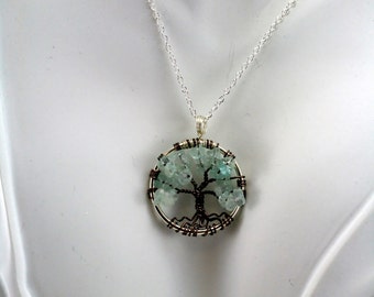 Aquamarine Tree of Life Pendant--- Pendant On Silver Ring and Antique  Tree and Chain Wire Wrapped Semi Precious Gemstone Jewelry