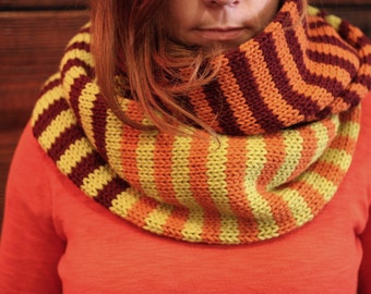 Chunky Tri-color Striped Infinity Scarf