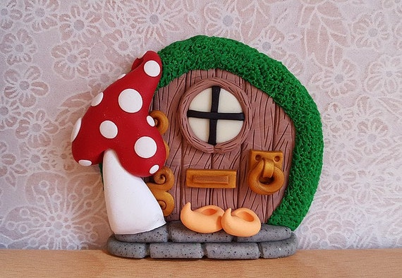 Clay fairy door fairy decoration small by downthefairypathuk for Elf door decoration