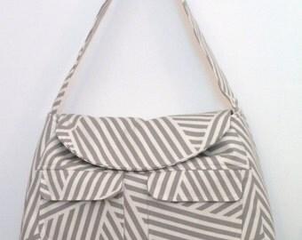 Tote Bag / Shoulder Bag / Tote /  Diaper Bag / travel tote / Handbag / Purse/ Satchel / Gray and White