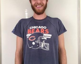 Retro 80s Thrashed NFL Chicago Bears Cut Off Sweatshirt