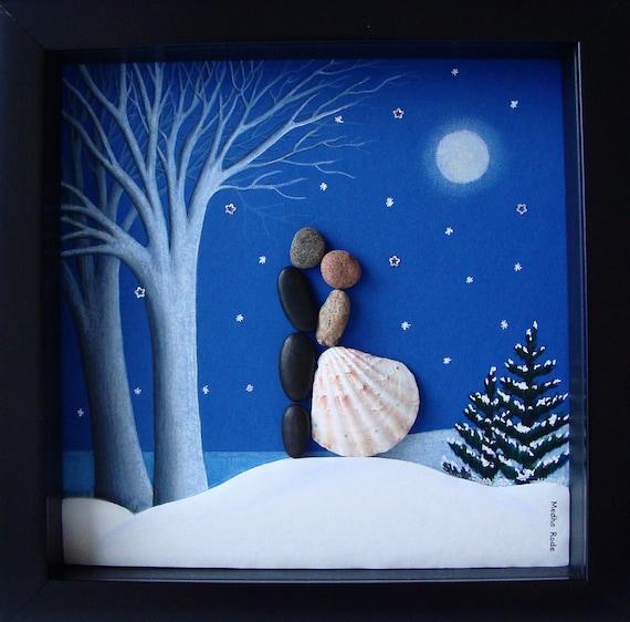 Pebble Art Wedding Gift : Wedding Pebble Art- Wedding Gift -Winter Wedding -Personalized Couple ...