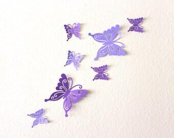 Purple wall art - 3D wall butterflies - Butterfly decorations - 3d wall decor - butterfly nursery decor - 3d butterfly wall art