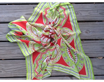 vintage red and green egyptian print scarf