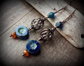 Blue hippie earrings, long copper earrings, blue flower earrings, asian earrings, ethnic jewelry, lantern earrings, aged copper jewelry