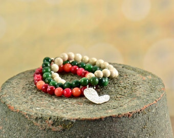 Stackable Gemstone Bracelet Trio, Heart Charm, Beaded Jewelry, Layered Bracelets, Boho Bracelets, Gifts for Her, Made in USA