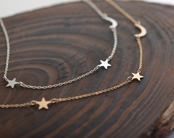 Moon and Star Necklace, Crescent Moon Necklace, Simple Minimal Necklace
