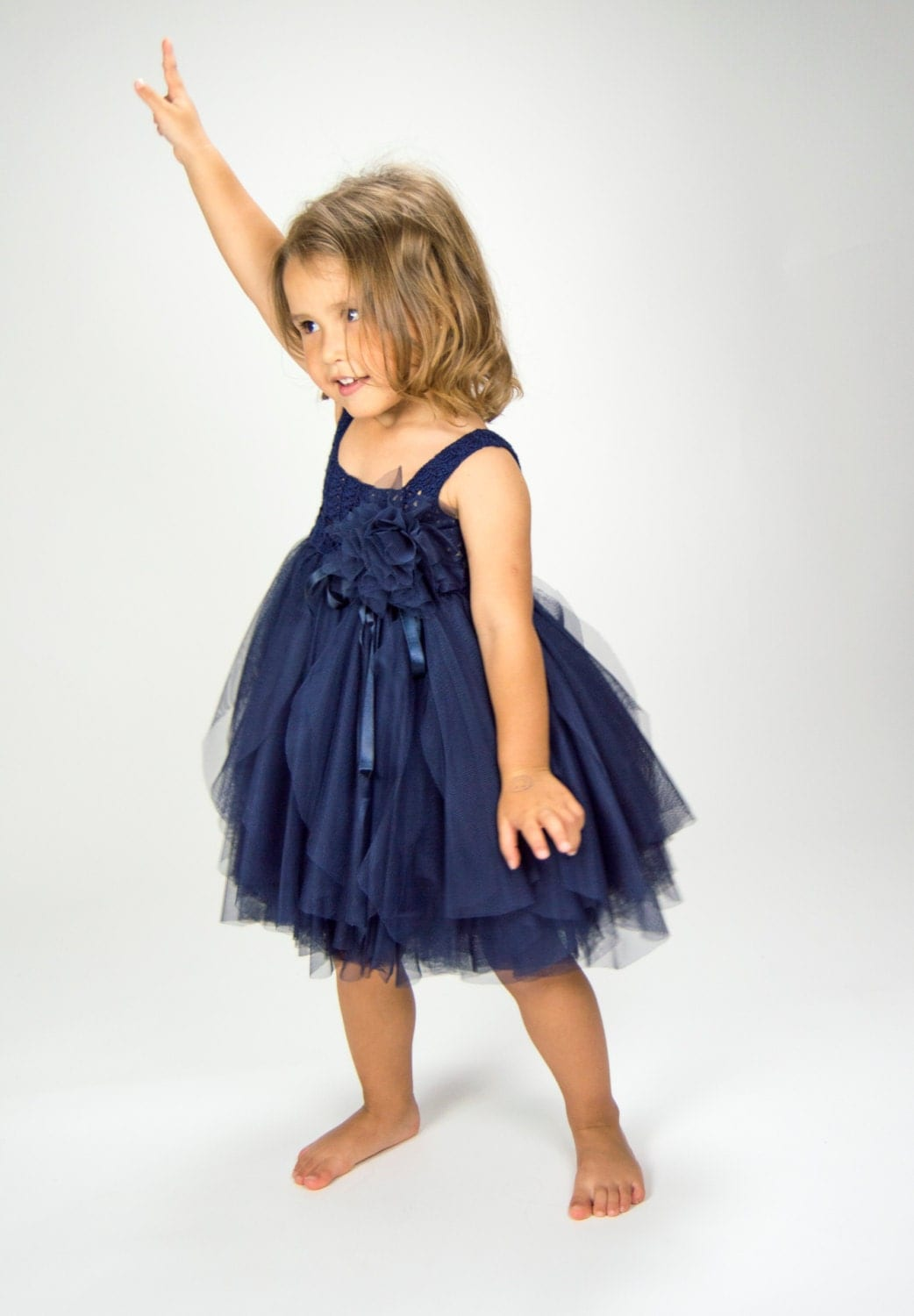 Navy Blue Empire Waist Baby Tulle Dress With Stretch Crochet