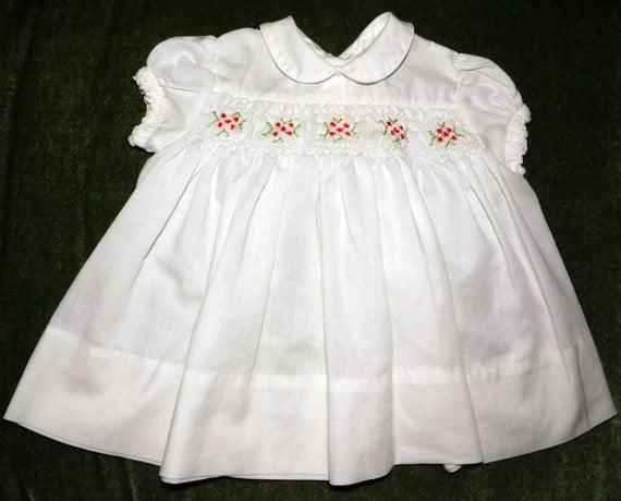 1e4dc3ec2a20 ... Polly Flinders White Smocked Dress With Green Dots And: 1960s Polly  Flinders Smocked Dress Infant