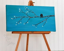 Original Canvas Painting Canvas Art Love Bird Painting Blue Wedding Gift for Couple Anniversary Gift Bird Wall Decor Art Love Birds Painting