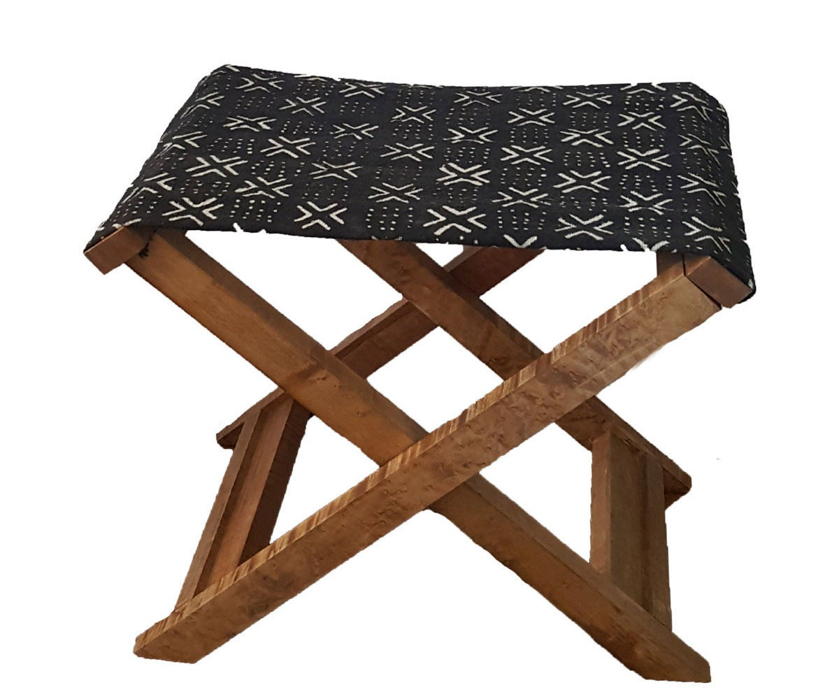 X Bench Mali Mudcloth X Bench With Salvaged Maple Wood Frame