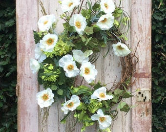 White Poppy Wreath, Front door wreath, Summer Wreath, Magnolia Farms Wreath, Fixer upper style, fixxer upper wreath,White Wreath,door wreath