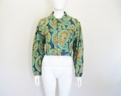 90s Cropped Patterned Paisley PRINT JEAN Jacket - made in France