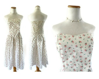 Floral Strapless Dress Sweetheart Dress 80s Sundress with Pockets White Strapless Dress 1980s Sundress 80s Dress Floral Sundress Size Large