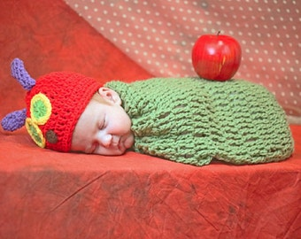 Cute Crochet CATERPILLAR  Hat & Cocoon Size  preemie, newborn, 0-3 month,