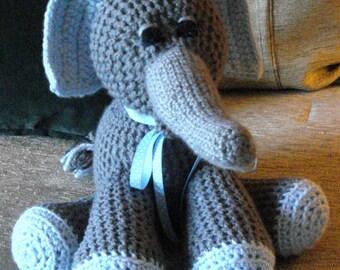 """Crocheted elephant stuffed animal doll toy """"Eddie"""""""
