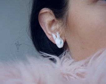 Earrings with white rabbits. 1 pair.