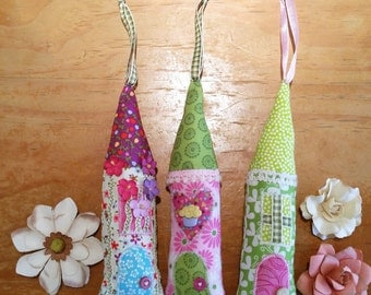 Fabric House Ornament Assorted, Miniature House, House Ornaments, Cotton House Decoration, Colorful Fabric House, Girls Room Decor