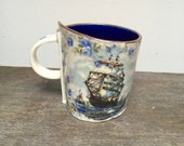 SALE!! Bright blue Ship/nautical cup. Kitsch and quirky coffee mug handmade in england, individual and beautiful
