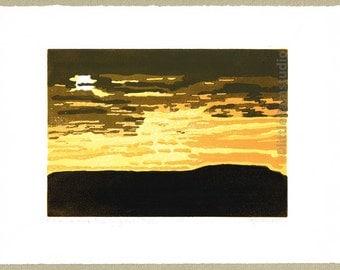 Pen-y-ghent, Yorkshire landscape. limited edition Linocut Print