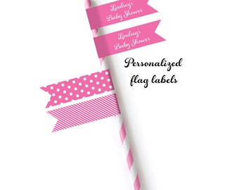 Straw Labels 40ct - Baby Shower Straw Flags - Personalized Straw Label - Toothpick Label - Cupcake Topper - Flag Label (7000)
