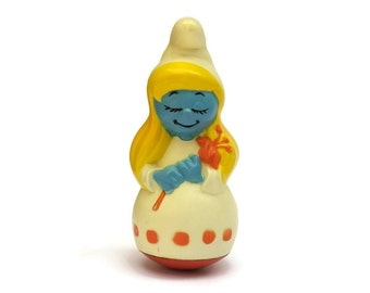 Vintage Smurfette Roly Poly Doll. Made in France by Educo. Smurfs Wobble Doll. 1970s Toys. Girl Nursery Decor.