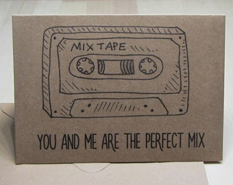 Mix Tape Retro Love Card, Funny 80s music card, Anniversary Card, Hand illustrated casette tape card, You and Me are the Perfect Mix