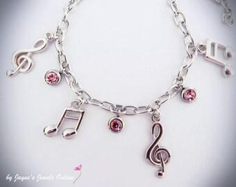 Music Note Charm Bracelet, Quaver, Semiquaver, Pink crystal drops, music bracelet for girls who LOVE music