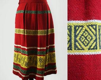 1950s Red Patterned Carpet Skirt