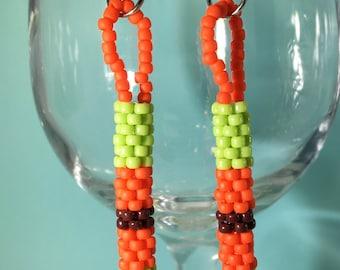 Lime Green Earrings, orange earrings