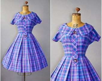 1950's Purple Plaid Dress • Cotton Day Dress • 50's Purple Cotton Dress