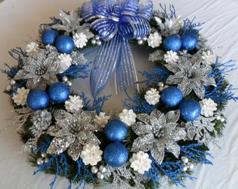 Christmas Wreath Blue and Silver Christmas Wreath Front door