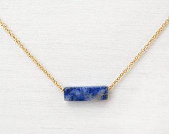 Lapis Lazuli Bar Necklace // Mined in Chili // Choker // Gold Choker // Gold Layering Necklace // Dainty Blue Necklace // Dainty Choker