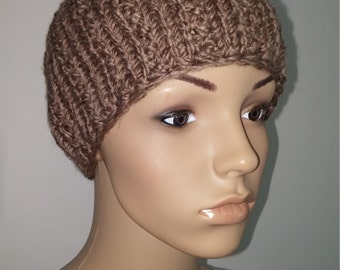 Light brown knitted winter Hat